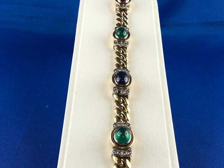 Goldenes Armband mit bunten Steinen und Brillanten